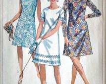 Vintage 60's Simplicity 7150 Sewing Pattern, Junior Petite' One-Piece Dress, Size 9JP, 32 1/2 Bust, Retro Mod