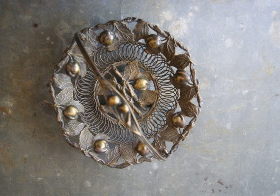Vintage Wire Basket,  Fruit  Design, Victorian Calling Card Holder, Brass Cherries , Brides Gift, Candy Holder, Wedding Gift, Bridal Shower
