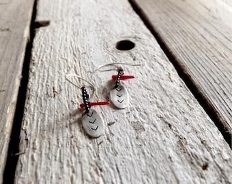 Chevron dangle earrings -Geometric arrow earrings -Sterling silver beaded earrings-Gift for teenagers