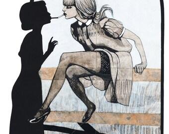 SHADOW PLAY 7x10 (Giclée Print of Original Ink + Gouache Drawing)