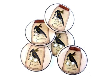 "5 Primitive Crow Decorative Novelty Buttons.  Crow Nodder in Mason Jar Craft Sewing Buttons.  3/4"" or 20 mm. Washable Dryer Safe."