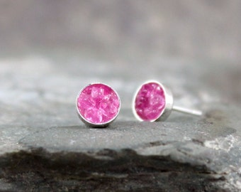 Raw Pink Sapphire Cluster Earrings - Sterling Silver Earring - Sapphire Gemstones - Rough Uncut Pink Sapphires - September Birthstone