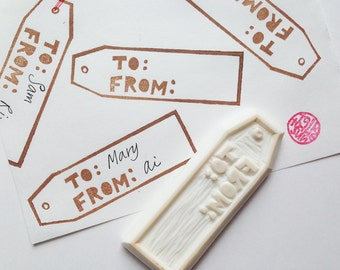 gift hang tag stamp. from and to hand carved rubber stamp. packaging label stamp. birthday christmas gift wrapping. mail art. holiday crafts