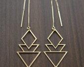 ON SALE Geometric Art Deco Earrings Gold Filled