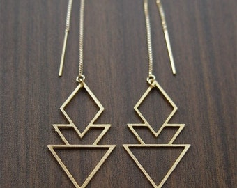ON SALE Geometric Art Deco Earrings Gold Filled