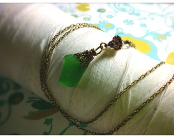 HALF PRICE Titanic Treasures - green seaglass brass necklace / seaglass necklace / sea glass jewelry / green pendant / brass necklace