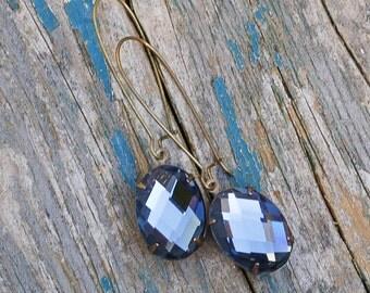 Blue Rhinestone Earrings Bohemian Midnight Sky Indian Sapphire