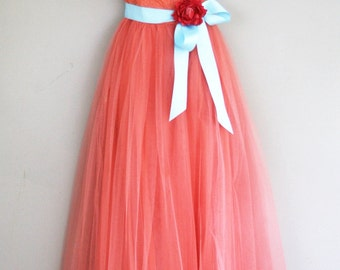 1950s Strapless Formal Gown - HARLENE Original - Grapefruit  Salmon Pink - Lace and Tulle - Vintage Bridesmaid Prom Spring Summer - 34 Bust