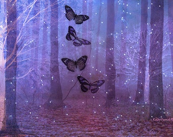 Butterfly Photography, Butterflies Fairy Lights, Purple Butterflies Nature Woodlands, Butterfly Prints, Butterflies Baby Girl Nursery Decor