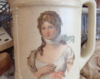 Vintage LARGE Chippy Cream Lady Portrait Pottery Pitcher