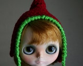 RESERVED for Lori - Extra Pointy Elf - Christmas Hat for Blythe - Pixie Gnome - Red and Pink