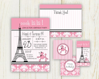 Paris Invitation - Paris Birthday Invitation - Paris Themed Invitation - Paris Party Supplies - digital