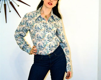 Vintage 70s LEVIS Novelty Print Blouse Nautical Sail Boats Shell Navy Blue Long Sleeve Shirt Butterfly Collar Button Down 1970s Panatela top