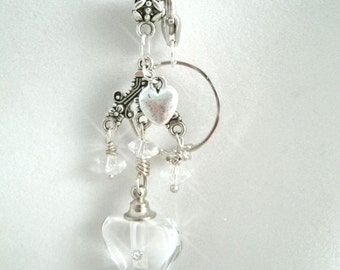 Multi Purpose Glass crystal heart Keepsake Vial Necklace with Glass Crystal Beads and optional Ring