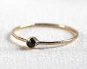 SOLID 14k Gold - Rose Cut Black Diamond Thread of Rose or White or Yellow Gold - Tiny Delicate Stacking Ring