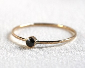 Rose Cut Black Diamond Stack Ring - Solid 14k Gold - Genuine Rose Cut Black Diamond - Rose or White or Yellow Gold - Tiny Delicate Dainty