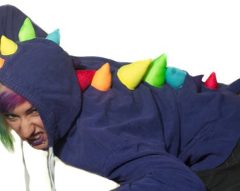 Upcycled Dino Hoodie- Ladies' Large- Purple with UV Rainbow Neon Spikes, Recycled Rave Costume, Burning Man, Queer