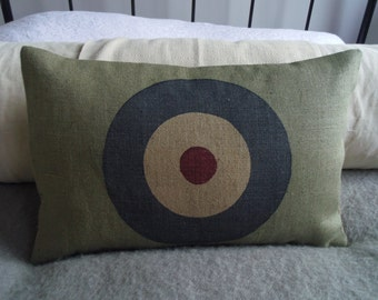 Retro handprinted bullseye /RAF ensign cushion cover