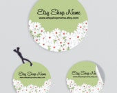Product Tags - Product Labels - Printable Round Label Design - Floral 23 - Personalized Digital File