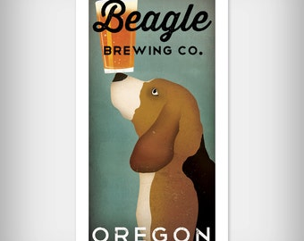 Personzalized BEAGLE Beer Brewing Company graphic art giclee print by Ryan Fowler Native Vermont Studio Signed