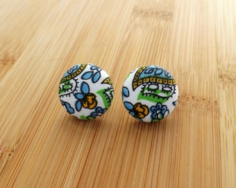 White Blue and Green Paisley Floral Vintage Patterned Fabric Button Earrings 15mm and 19mm Studs