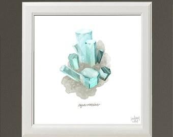 Aquamarine Crystal - Archival Print by Lindsay Nohl