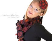 Artiste scarf from Paris, finest merino wool silk cotton, handfelted green design, nature, tree bark