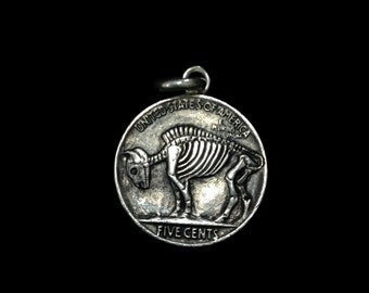 Sterling Silver Buffalo Pendant- Double Sided Indian Head Nickel Skeleton Skull/ Buffalo Skeleton Hobo Nickel