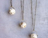 Moon necklace, long antique brass chain, science astronomy satellite planet, Beadwork necklace.