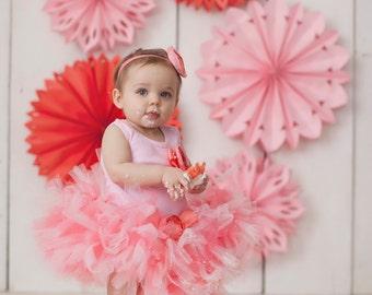 Birthday Tutu | 1st Birthday Tutu Dress | Baby Birthday Tutu | Cake Smash Tutu | Tutu Skirt | Coral and Pink Tutu