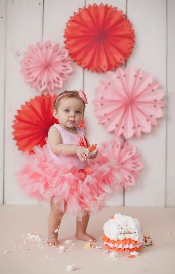 Baby Girls Birthday Tutu Dress Outfit Sweet Coral Pink Tutu