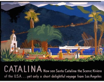vintage retro catalina island southern california illustration travel poster digital download
