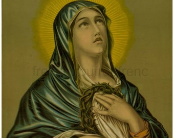 antique Mary mother of Jesus mater dolorosa lithograph digital download