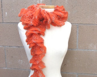 Orange Ruffle Scarf  | Bright Tangerine with Silver Sequins | Frilly Light Orange Scarf