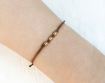 Round Beads Bracelet / Bead Anklet - 3 Gold-Filled or Sterling Silver Beads (many colors)