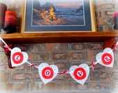 Crepe Paper Rosette Valentine's Day Bunting / Valentine Garland / Valentine's Decor