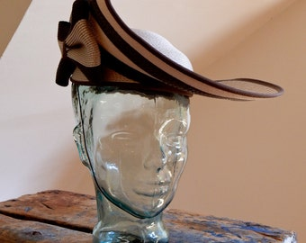 Edwardian Style Hat Jody G. for Sylvia St. Louis Striped Lacquered Straw Derby Day Accessory Audrey Hepburn My Fair Lady Revival