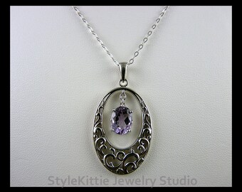 Amethyst, Scroll Filigree, Pendant Necklace, 925 Sterling Silver, Oval Faceted, Adjustable, Oval Cable Chain, Natural Gemstone, Purple