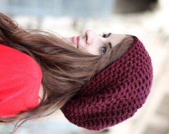 Womens Slouchy Hat, Crochet Slouchy Hat, Women's Hat, Crochet Hat, Womens Accessories, Fall Fashion, Slouchy Beanie Hat, Redcurrant