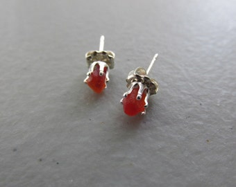 Red Post Earrings, Sea Glass Stud Earrings, Beach Glass Jewelry, Red Beach Glass, Post Earrings, Gift for Her