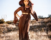 FINAL Super SALE: The Brown & Metallic Gold Stripe Tunic Dress by Opal Moon Designs (Size S or M)