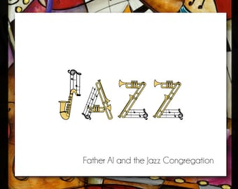Jazz Note Cards / 10 Personalized Notecards / Music Musician Teacher Musical Notes Gold Saxophone Trumpet Trombone Band Lounge Singer