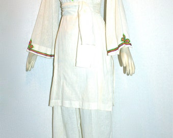 CHRISTIAN DIOR Vintage Gauze Tunic Embroidered Caftan & Pants - AUTHENTIC -