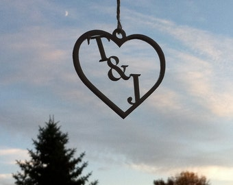 Heart ORNAMENT PERSONALIZED Gift Under 10 Dollars Heart Ornament Personalized Any 2 initials Christmas Tree Ornament Rear View Mirror Charm