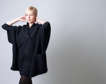 Minimalist Coat / Cape Coat / Oversize Designer Coat / Sweater Jacket - MC098