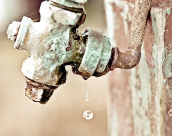Rustic faucet Photography drip water barn farm teal blue orange south rust pipe patina knob rural - A drop to drink - fine art photo