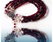 "SALE - Bracelet Luscious Candy Apple Red Garnets Five Strand Boho Gypsy Bohemian Bracelet Luxe Jewelry Gemstones Handmade 7.5"""