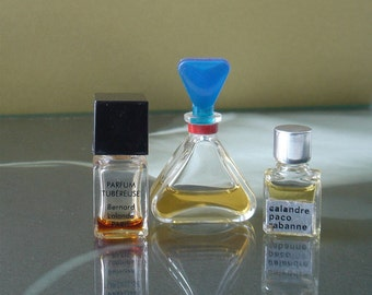 Vintage Miniature Glass Perfume Bottles - set of 3 - Calandre Paco Rabanne - Liz Claiborne - Tubereuse Bernard Lalande