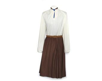70s secretary dress // long sleeve maxi dress // 70s outfit // 60s 70s dress // two tone dress // 70s polyester dress // brown cream dress
