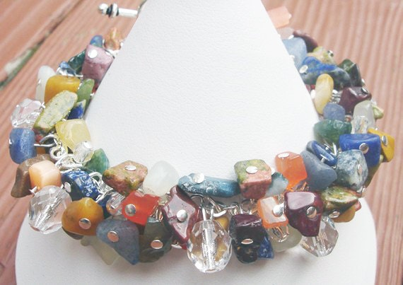 Colorful Boho Bracelet Semi-Precious Stone Czech Glass Gemstone Bracelet Womens Bracelet Colorful Bracelet Silver Bracelet BoCade Jewelry